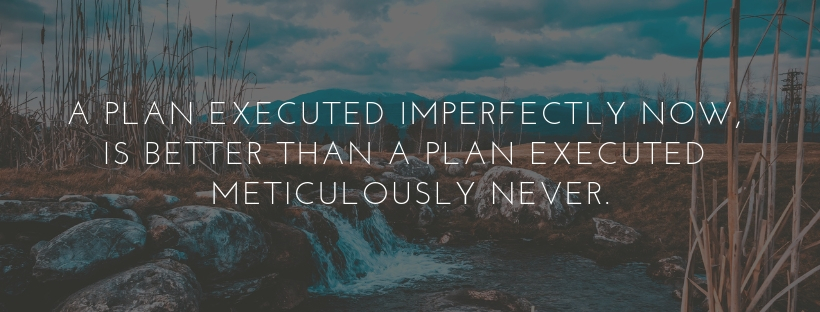 A plan executed imperfectly now, is better than a plan executed meticulously never.