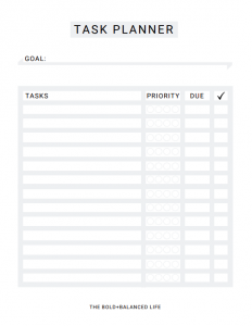 FREE Task Planner by The Bold+Balanced Life